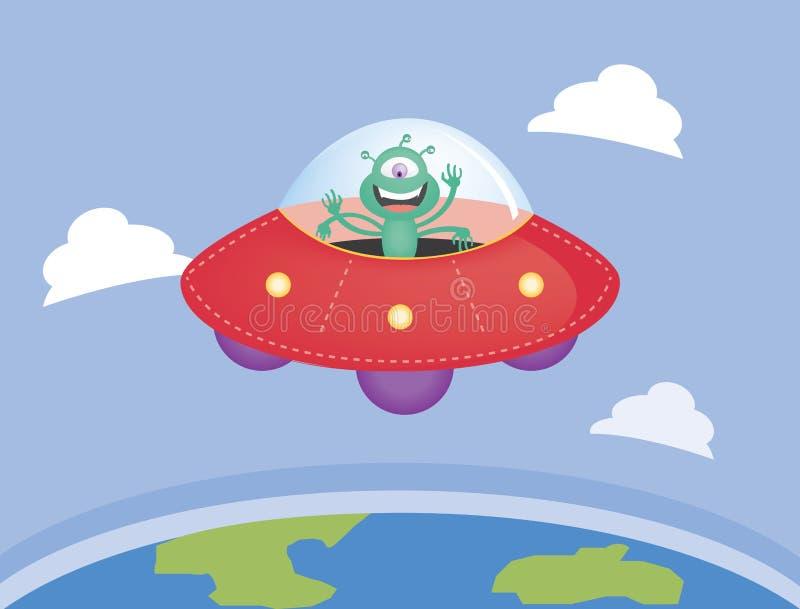Vreemdeling en UFO die over de aarde vliegen royalty-vrije illustratie