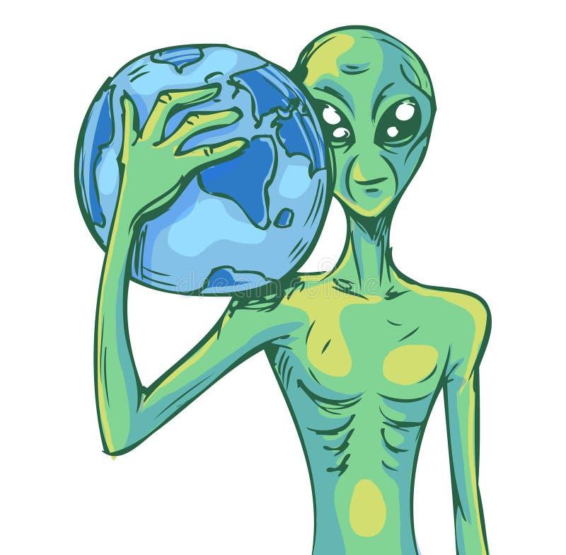 Vreemdeling met aarde stock illustratie