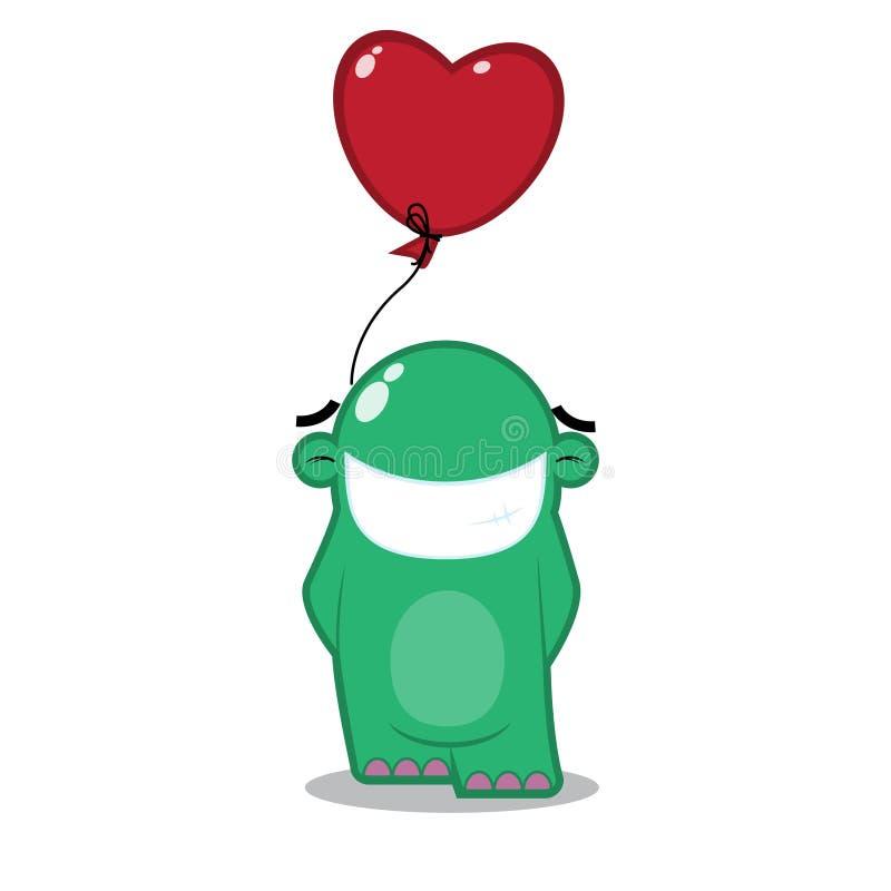 Vreemdeling met opblaasbaar hart. royalty-vrije illustratie