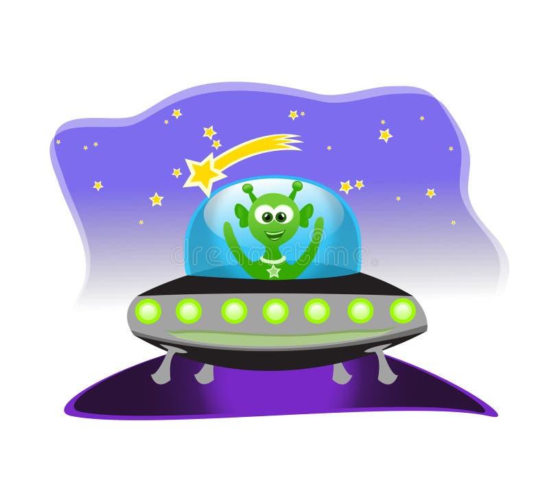 Vreemdeling in ruimteschip vector illustratie