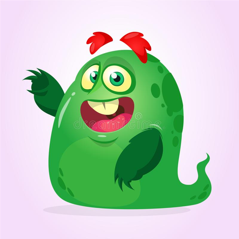 Vreemdeling van het beeldverhaal de gelukkige monster Vector illustratie stock illustratie