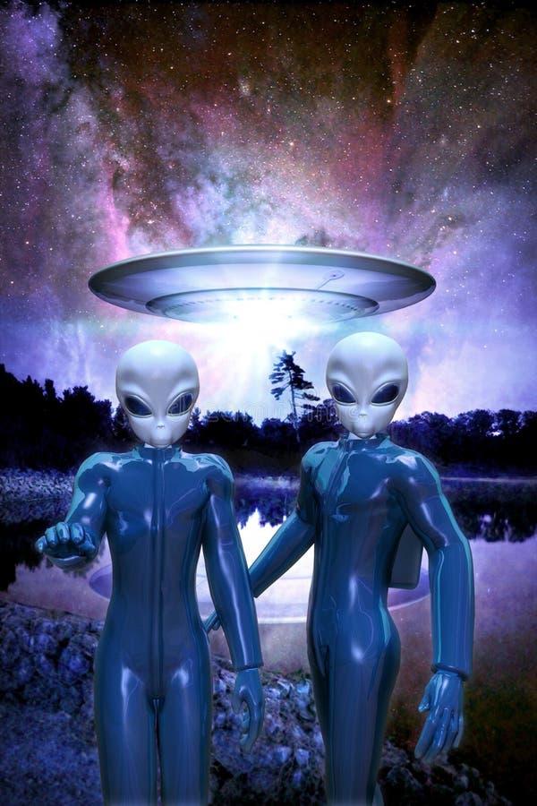 Vreemdelingen en ufo vector illustratie