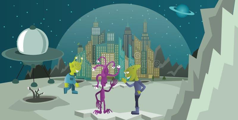 Vreemdelingen van een andere planeet stock illustratie
