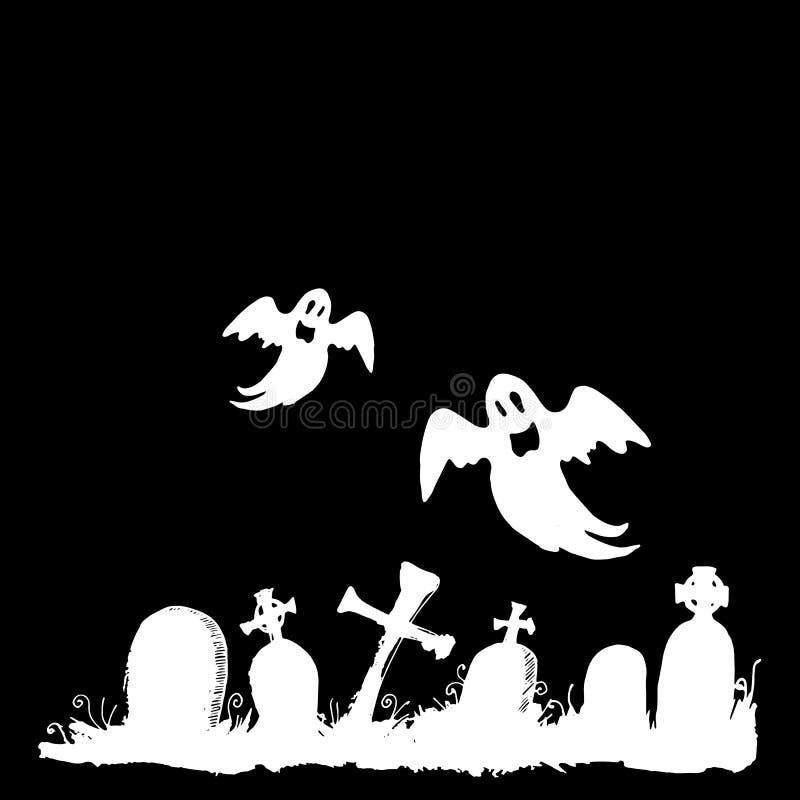 Vrees van het de illustratiebeeldverhaal van spook de vectorhalloween griezelige stock illustratie