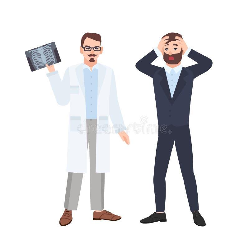 Vresig manlig läkare eller radiolog som visar röntgenstrålen av stödburen till den förskräckta patienten och informerar honom om  stock illustrationer