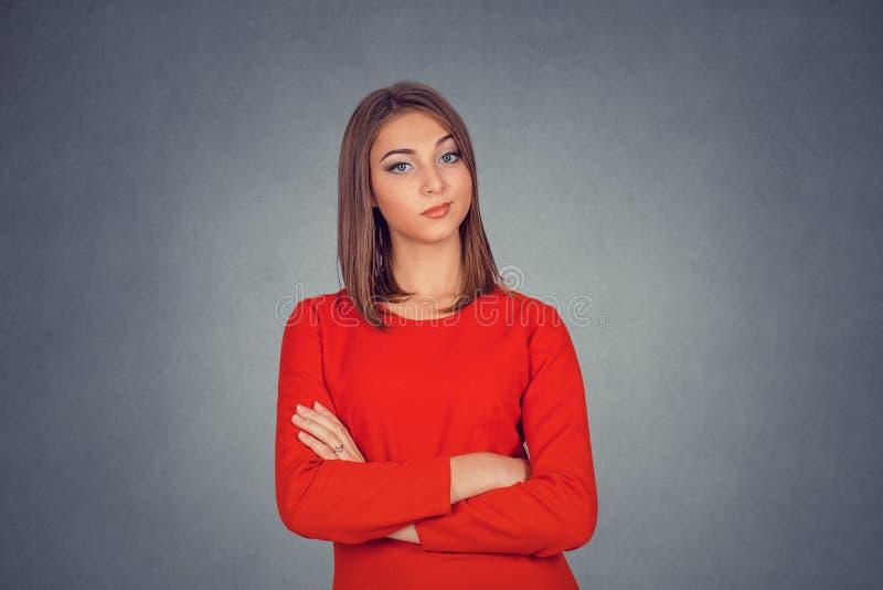 Vresig skeptisk kvinna royaltyfria foton
