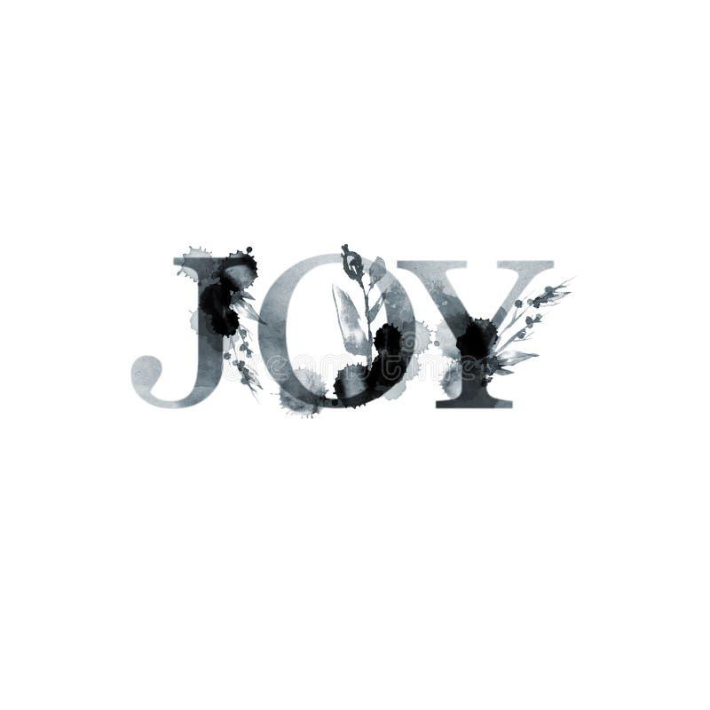 Vreugde - bloemen artistiek het van letters voorzien woord De moderne kaart van de alfabetgroet De illustratie van de waterverf G vector illustratie