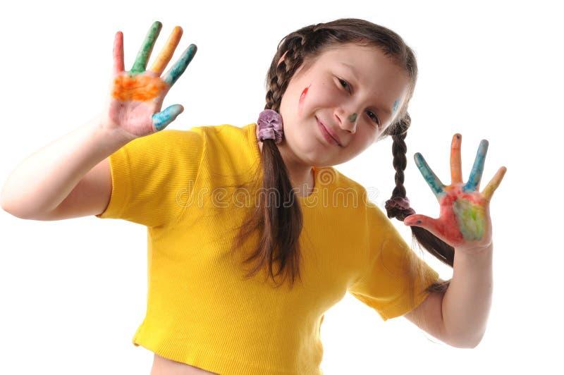 Vreugde. Het meisje van Preteen het spelen met kleuren royalty-vrije stock foto's