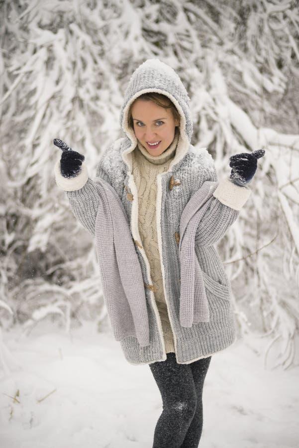 Vreugde om in de winter te lopen stock foto