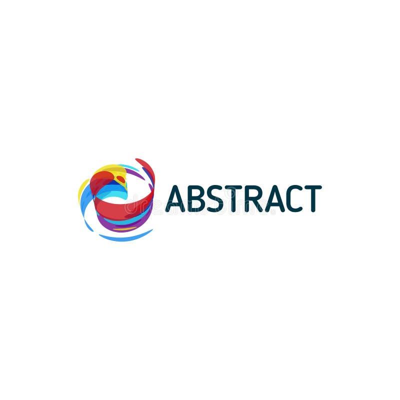 Vrid färgrik abstrakt form, målarfärg av inspirationkonst Mall för vektorlogodesign royaltyfri illustrationer