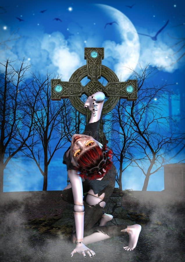 Vriden levande döddocka i en kyrkogård stock illustrationer