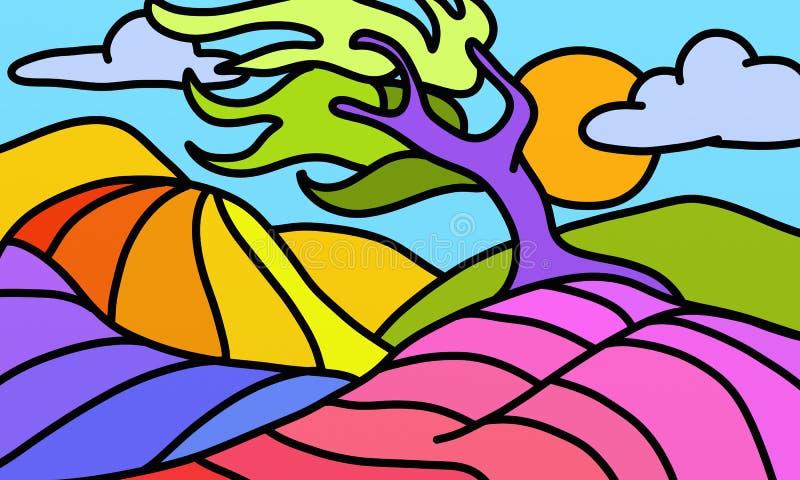 Vridet färgrikt träd vektor illustrationer