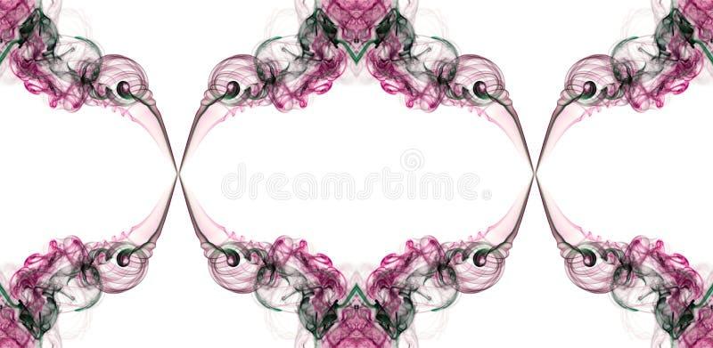 Vridet röd, rosa färg- och gräsplanabstrakt begrepp röker royaltyfri bild