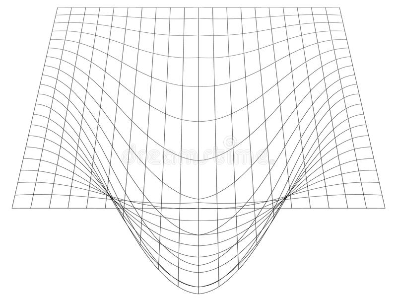 Vridet raster i perspektiv ingrepp 3d med konvex distorsion stock illustrationer