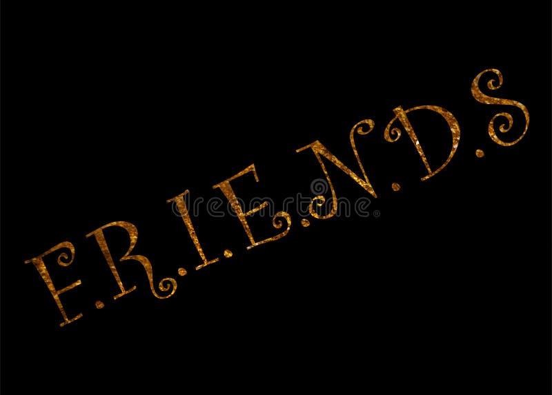 Vriend-inspireer motievencitaat Hand het getrokken mooie van letters voorzien Druk voor inspirational affiche royalty-vrije illustratie