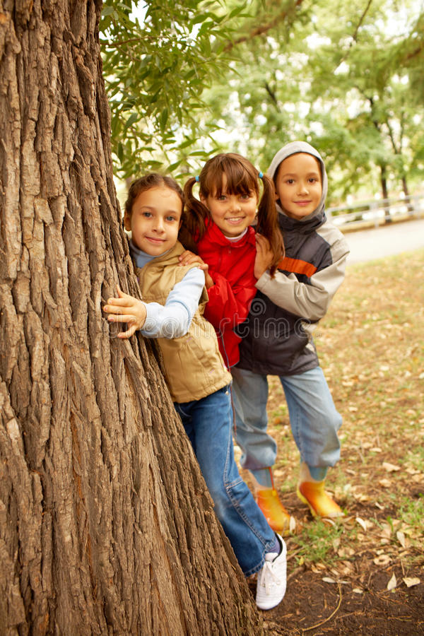 Vrienden achter boom stock afbeelding