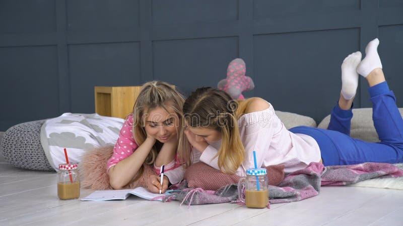 Vrienden communicatie het schrijven notitieboekje het bestuderen royalty-vrije stock afbeelding