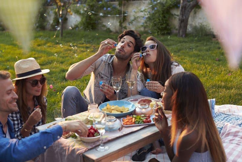 Vrienden die Bellen blazen tijdens Picknick in Tuin stock afbeeldingen