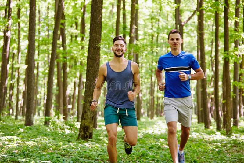Vrienden die bos doornemen stock fotografie