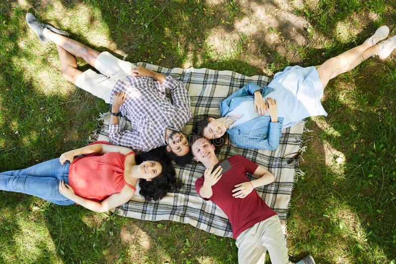 Vrienden die de Zomer van Picknick genieten stock foto's