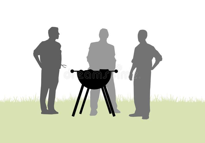 Vrienden die een barbecue in tuin hebben stock illustratie