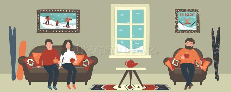 Vrienden die hete thee in comfortabele ruimte, flat of koffie in de winter drinken royalty-vrije illustratie