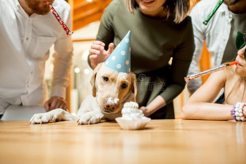 Vrienden die hond` s verjaardag vieren royalty-vrije stock afbeelding