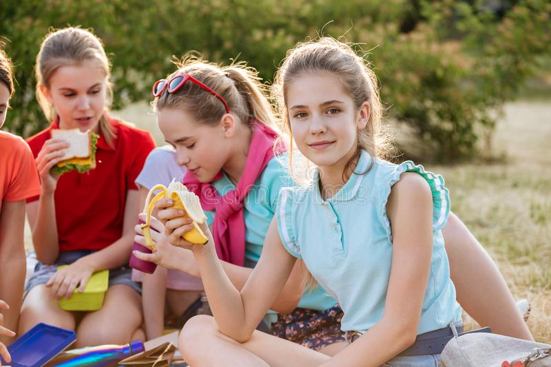 Vrienden die op het gras zitten die gezond voedsel eten bij een lunch royalty-vrije stock afbeeldingen
