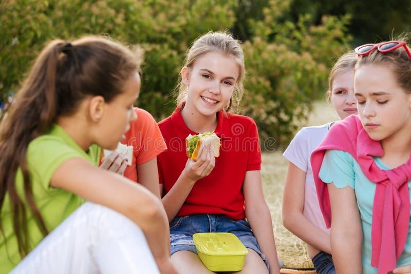 Vrienden die op het gras zitten die gezond voedsel eten bij een lunch royalty-vrije stock foto's