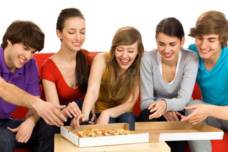 Vrienden Die Pizza Eten Stock Afbeelding