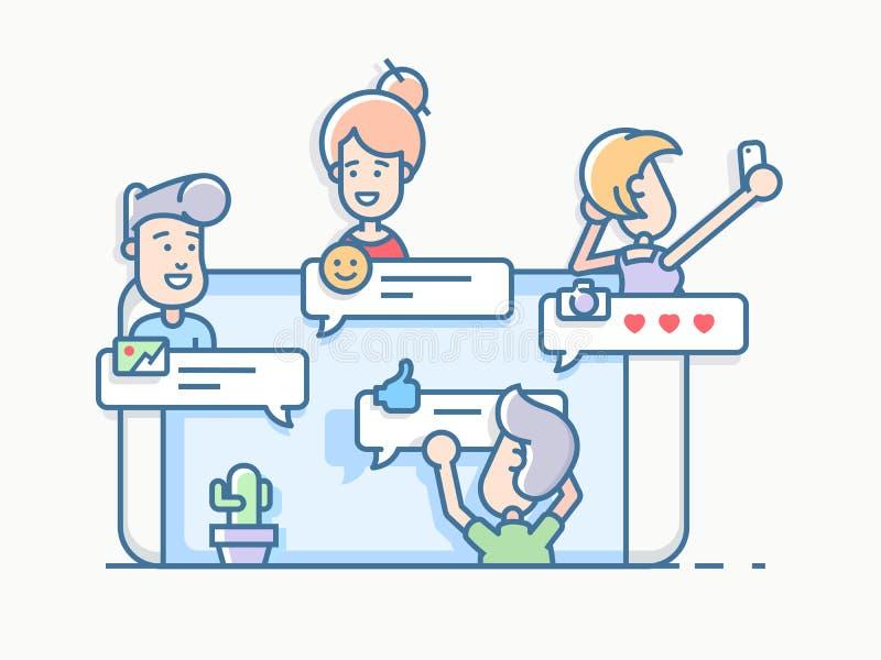 Vrienden die in praatje app op mobiele telefoon spreken royalty-vrije illustratie