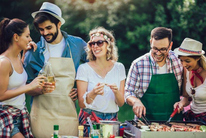 Vrienden die pret hebben die vlees roosteren die barbecue van partij genieten stock afbeeldingen