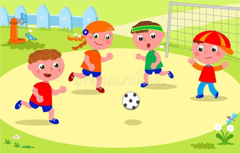 Vrienden die voetbal spelen bij het park stock illustratie