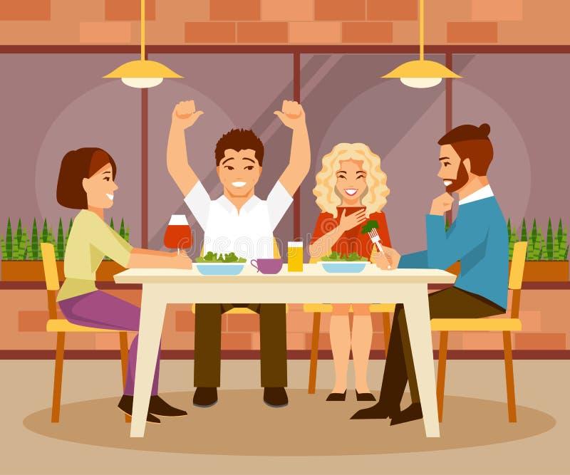 Vrienden in een koffie stock illustratie