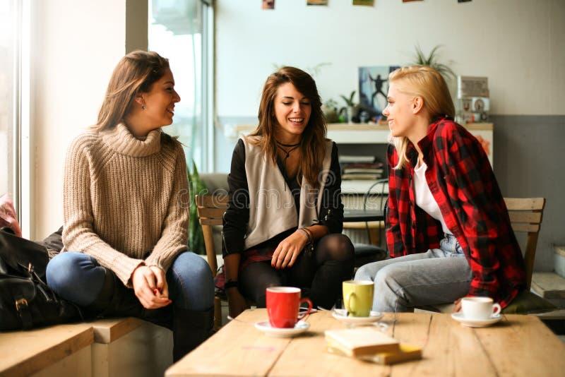 Vrienden in een koffie stock afbeeldingen