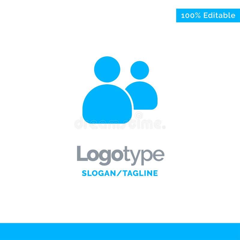 Vrienden, Groep, Gebruikers, Team Blue Solid Logo Template Plaats voor Tagline vector illustratie