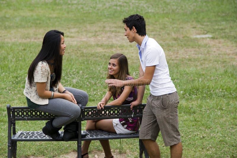 Vrienden in het park stock foto