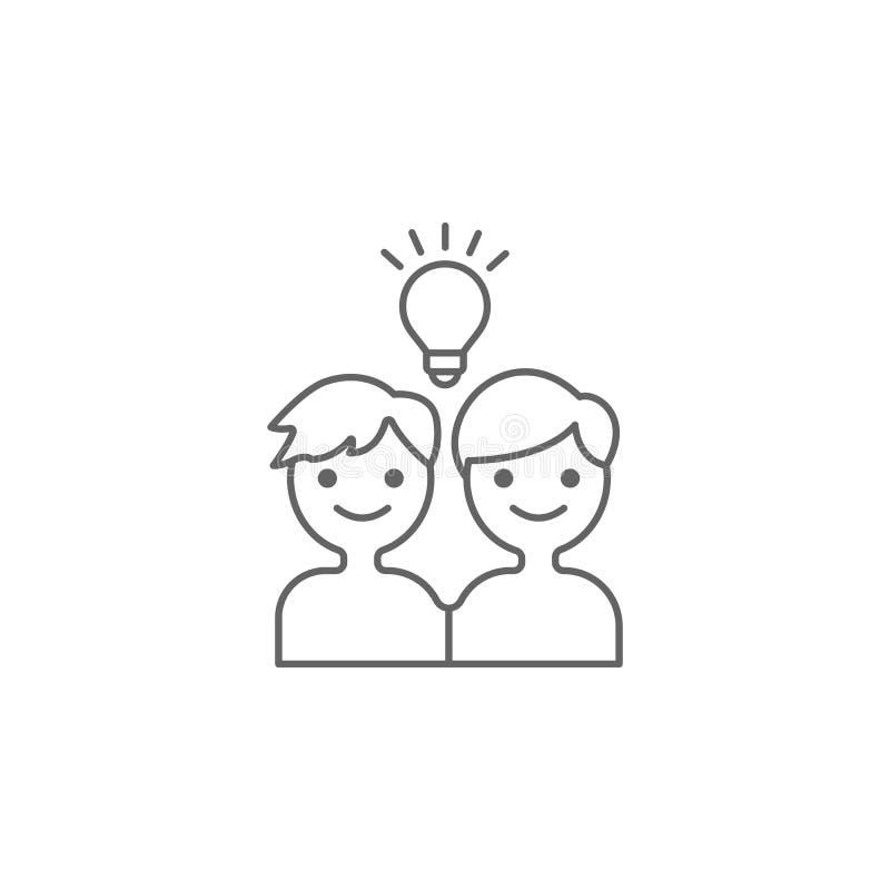 Vrienden, idee, creatief pictogram Element van vriendschapspictogram Dun lijnpictogram voor websiteontwerp en ontwikkeling, app o stock illustratie