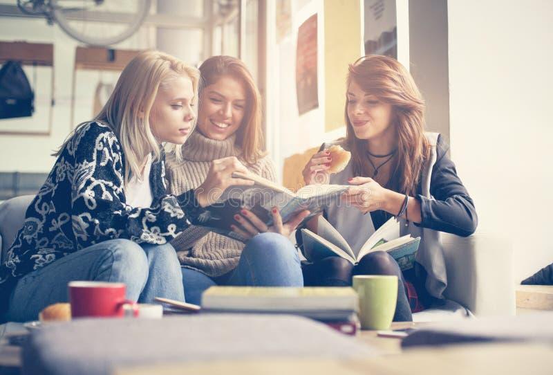 Vrienden in koffie Drie beste en vrienden die samen leren eten royalty-vrije stock afbeeldingen