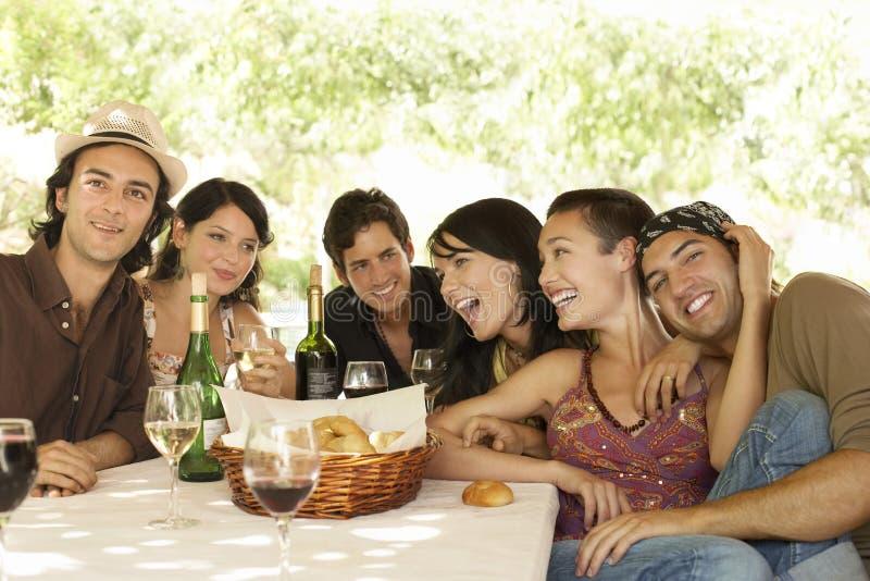 Vrienden met Dranken en Broodmand bij Lijst die van Partij genieten royalty-vrije stock afbeelding