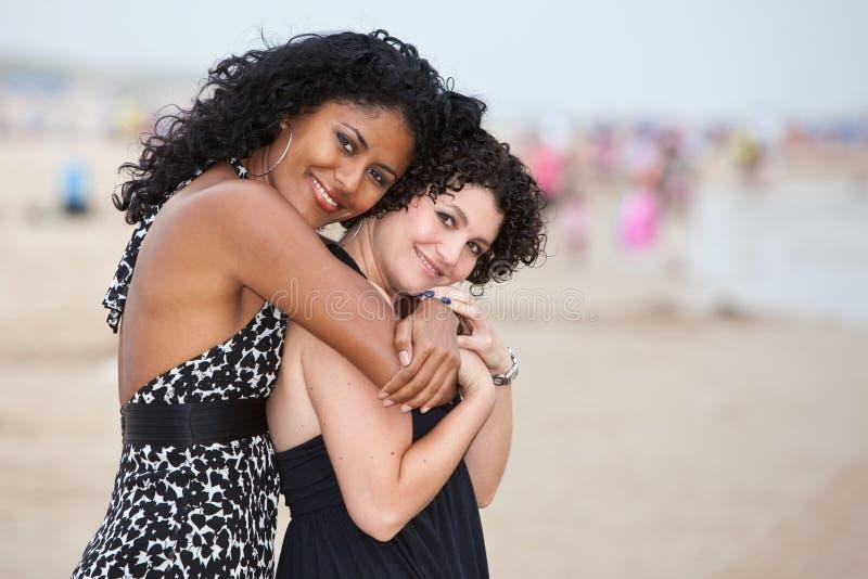 Vrienden op het strand stock fotografie