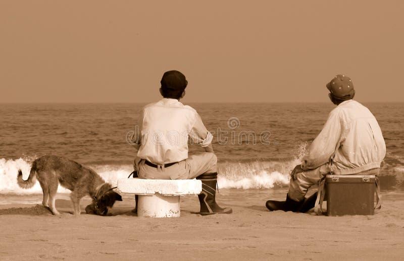 Vrienden op het strand royalty-vrije stock fotografie