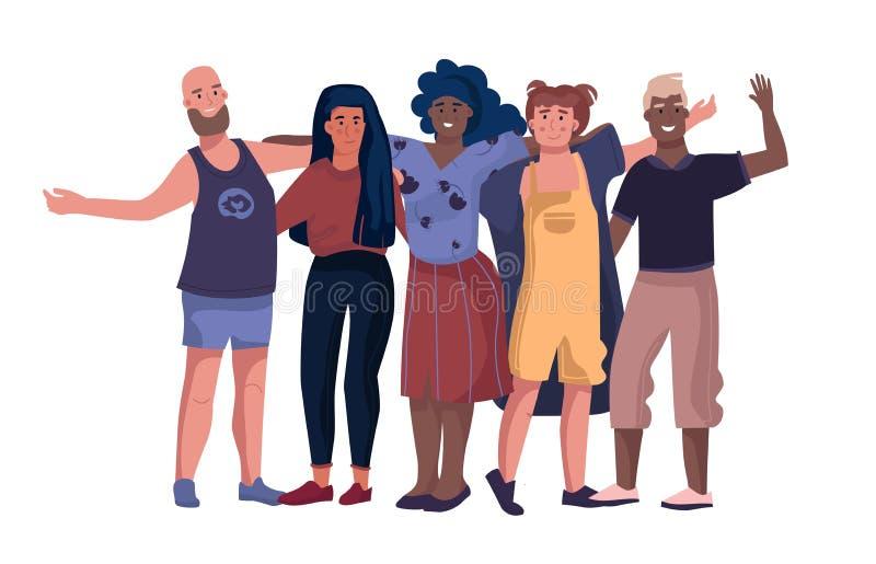 Vriendenkarakters Mensen die elkaar koesteren en handen houden die, het concept van de krabbelvriendschap zich verenigen Vector stock illustratie