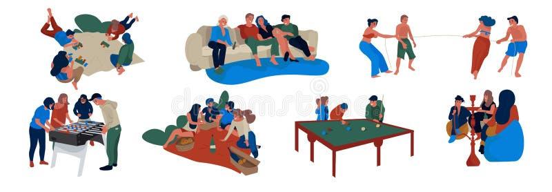 Vriendenscènes Mensen die etend het besteden tijd samen, vriendschaps vlak concept zitten vector illustratie
