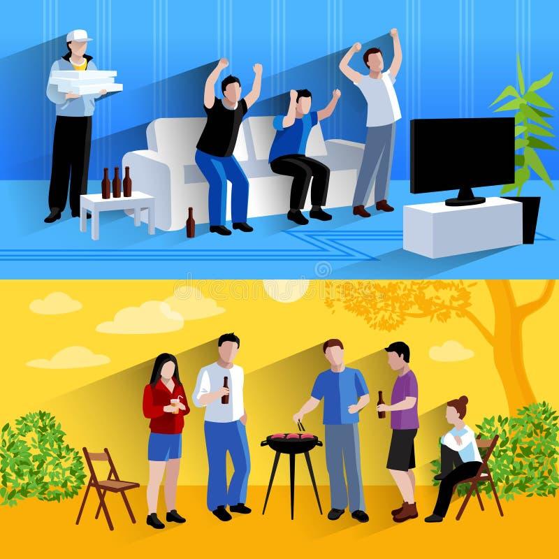 Vriendenvrienden 2 vlakke bannerssamenstelling vector illustratie