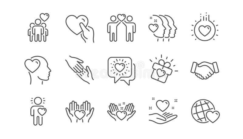 Vriendschap en liefdelijnpictogrammen Interactie, Wederzijdse begrip en hulpzaken Lineaire reeks Vector vector illustratie