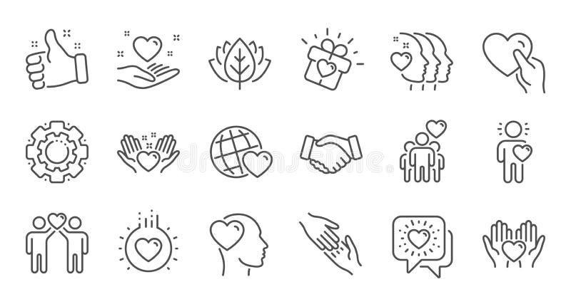 Vriendschap en liefdelijnpictogrammen Interactie, Wederzijdse begrip en hulpzaken Lineaire reeks Vector stock illustratie