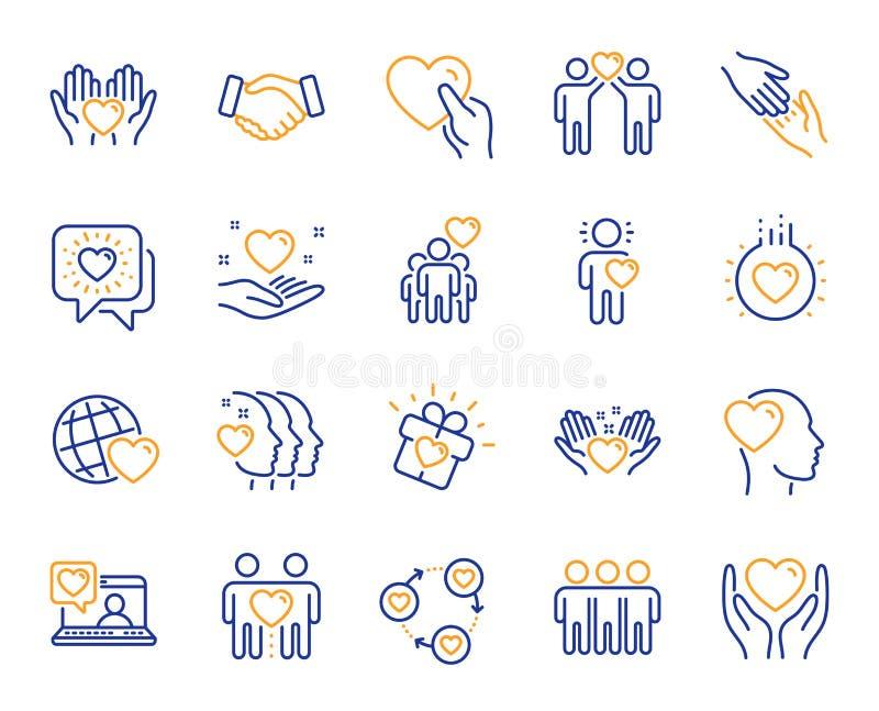 Vriendschap en liefdelijnpictogrammen Interactie, Wederzijdse begrip en hulpzaken Vector royalty-vrije illustratie