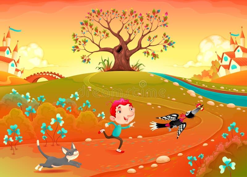 Vriendschap tussen een jongen, een specht en een katje vector illustratie