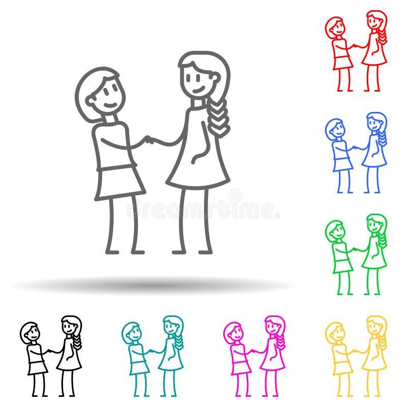 vriendschap van klasgenoten pictogram met meerdere kleuren Eenvoudige dunne lijn, overzicht van vriendschappictogrammen voor ui e vector illustratie